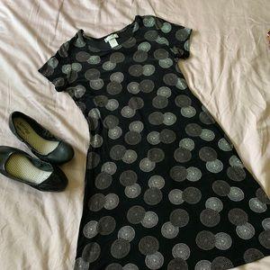 90's Slinky Black Joule Circle Print Dress